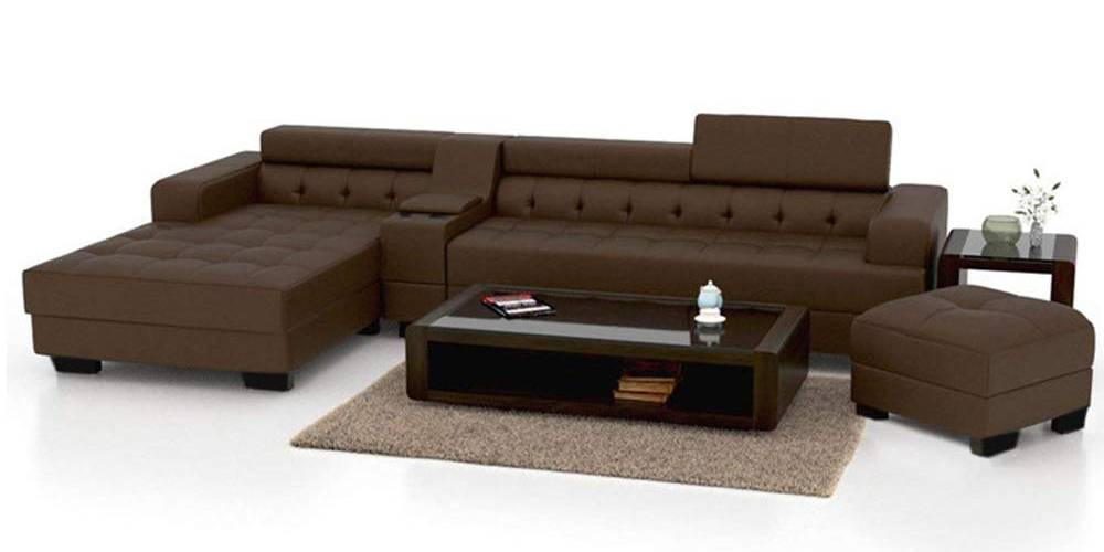 Koba Leatherette Sectional Sofa - Brown by Urban Ladder - -