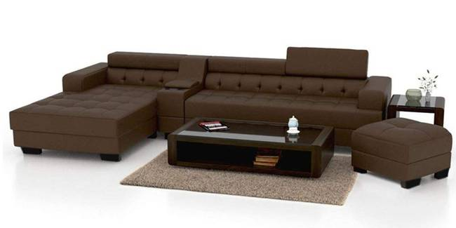 Koba Leatherette Sectional Sofa - Brown (Brown, None Standard Set - Sofas, Leatherette Sofa Material, Regular Sofa Size, Sectional Sofa Type, Left Sectional Sofa Custom Set - Sofas, Regular Cushion Type)
