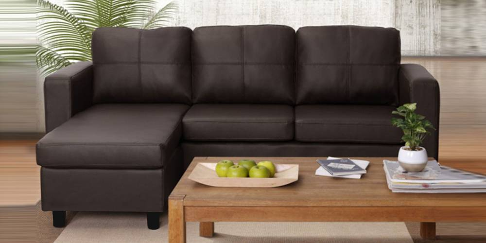Lexington Leatherette Sectional Sofa - Brown by Urban Ladder - -
