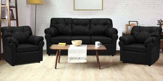 Nena Leatherette sofa - Black (Black, None Custom Set - Sofas, 3-1-1 Set Standard Set - Sofas, Leatherette Sofa Material, Regular Sofa Size, Regular Sofa Type)