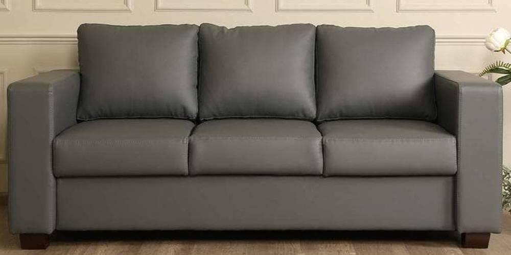 Pittsburgh Leatherette sofa - Grey by Urban Ladder - -