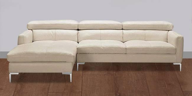 Sinclair Leatherette Sectional Sofa - Cream (Cream, None Standard Set - Sofas, Leatherette Sofa Material, Regular Sofa Size, Sectional Sofa Type, Left Sectional Sofa Custom Set - Sofas, Regular Cushion Type)