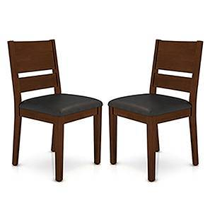 Cabalo leatherette dining chairs color black finish dark walnut lp