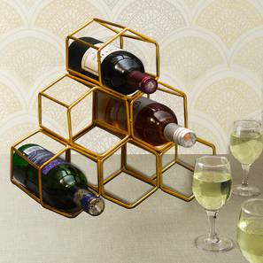 August Wine Rack (Ebony Finish, Gold) by Urban Ladder - Front View Design 1 - 378744