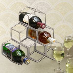 August Wine Rack (Ebony Finish, Copper) by Urban Ladder - Front View Design 1 - 378746