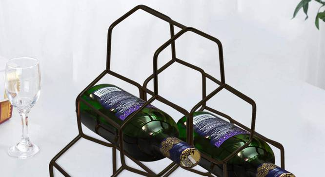 August Wine Rack (Ebony Finish, Black) by Urban Ladder - Front View Design 1 - 378747