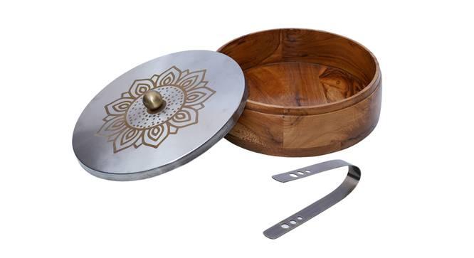 Esmeralda Chapati Box (Brown & Silver) by Urban Ladder - Cross View Design 1 - 379052
