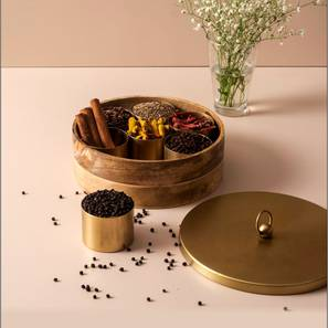Marlowe Spice Box (Brown & Gold) by Urban Ladder - Front View Design 1 - 379513