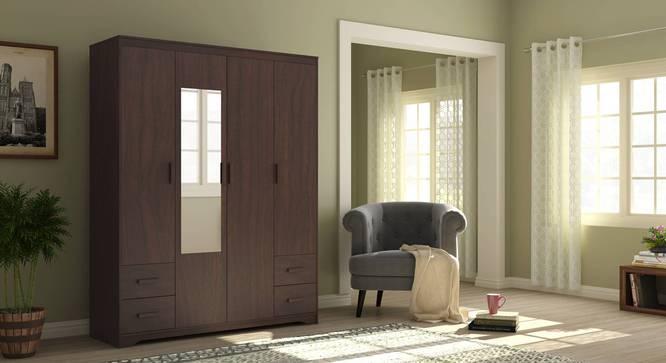 Hilton 4 Door Wardrobe (4 Drawer Configuration, Smoked Walnut Finish) by Urban Ladder - Full View Design 1 - 380956