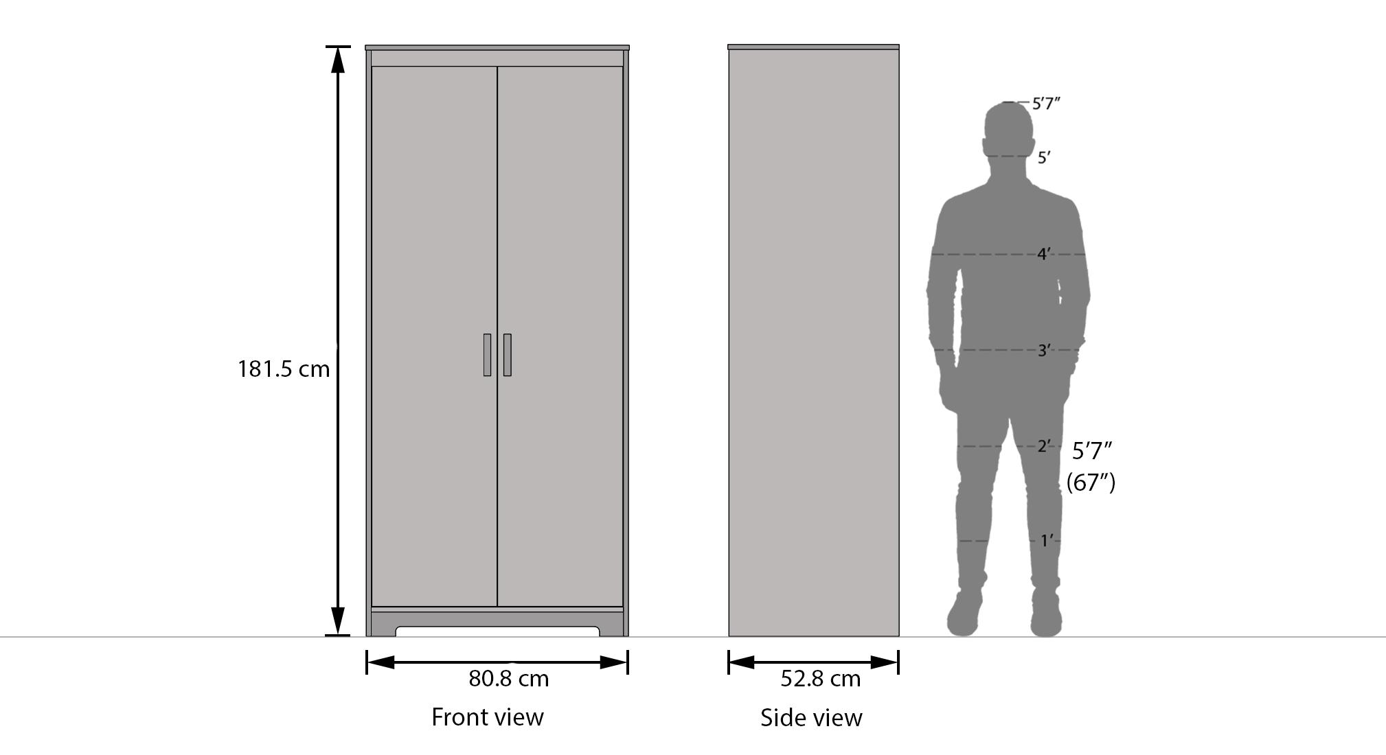 Miller 2 door wardrobe finish two tone dim1