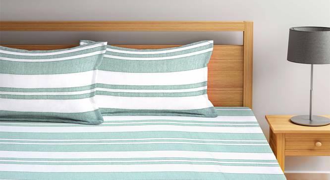 Misaki Bedsheet Set (Green, King Size) by Urban Ladder - Front View Design 1 - 382222