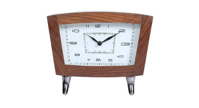 Joan Wall Clock (White & Brown) by Urban Ladder - Front View Design 1 - 383442