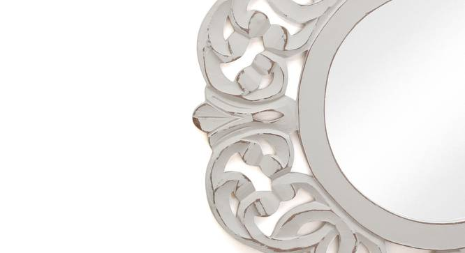 Frances Wall Mirror (White, Round Mirror Shape, Simple Configuration) by Urban Ladder - Cross View Design 1 - 383452