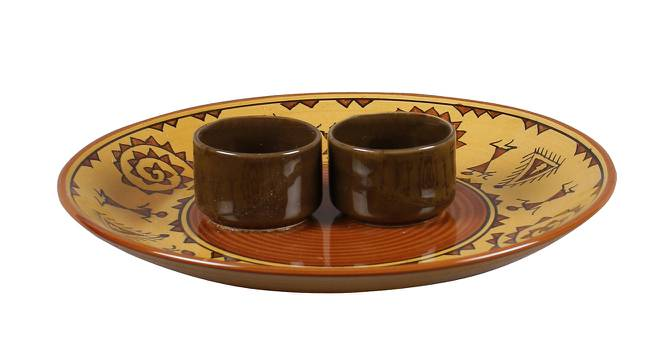 Eilon Platter with Attached Bowl (Brown) by Urban Ladder - Front View Design 1 - 383701