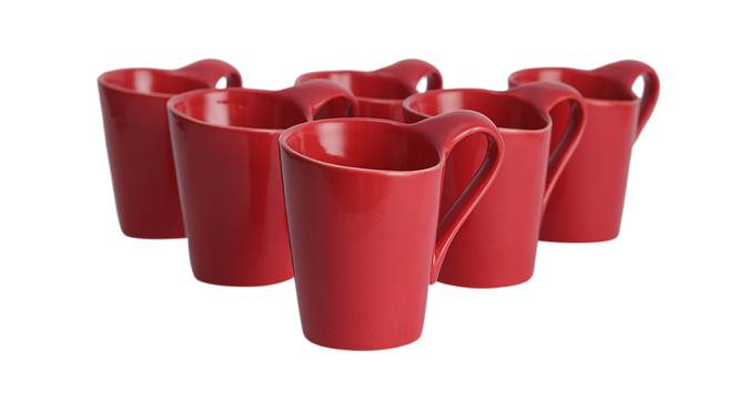 Hazal Cups Set of 6 (Red) by Urban Ladder - Design 1 Side View - 383770
