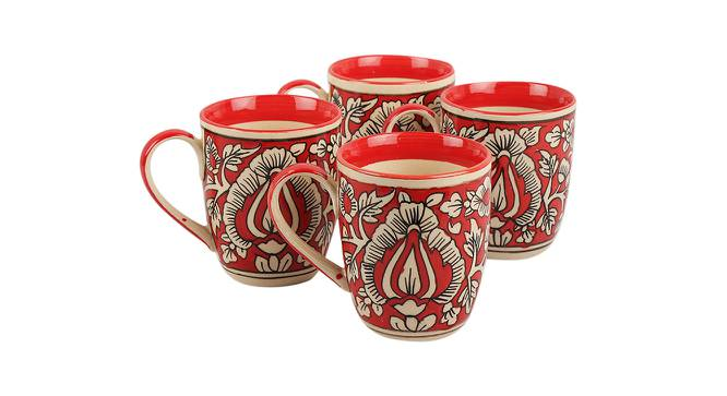 Olivier Mugs Set of 4 (Red) by Urban Ladder - Front View Design 1 - 383851