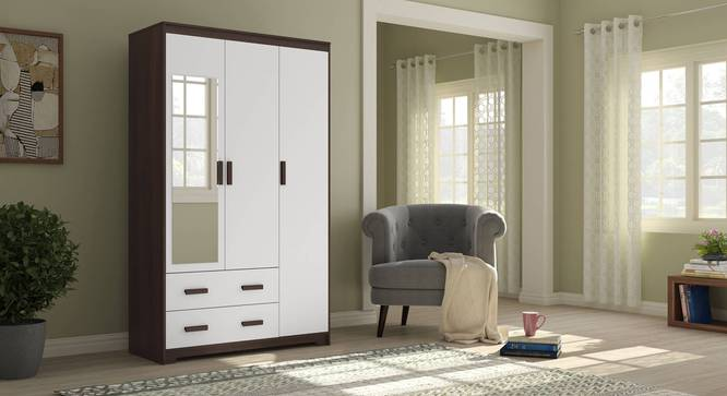 Miller 3 Door Wardrobe (Two-Tone Finish, 2 Drawer Configuration, Without Mirror, With Lock) by Urban Ladder - Full View Design 1 -