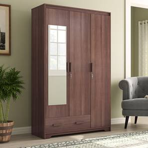 Hilton 3 Door Wardrobe (1 Drawer Configuration, With Mirror, Spiced Acacia Finish, With Lock) by Urban Ladder - Full View Design 1 - 384108