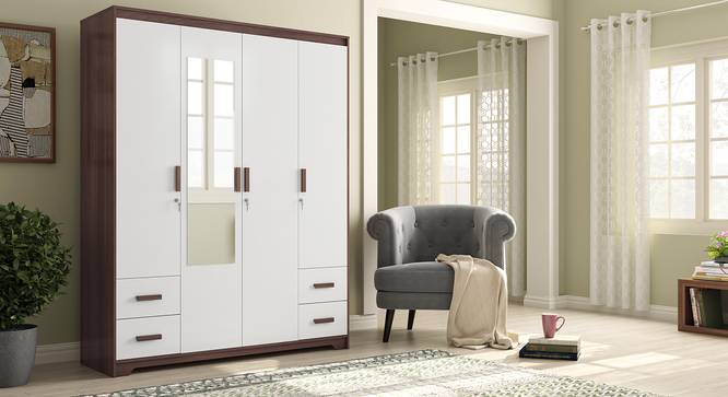 Miller 4 Door Wardrobe (Two-Tone Finish, With Mirror, 4 Drawer Configuration, With Lock) by Urban Ladder - Full View Design 1 - 384213