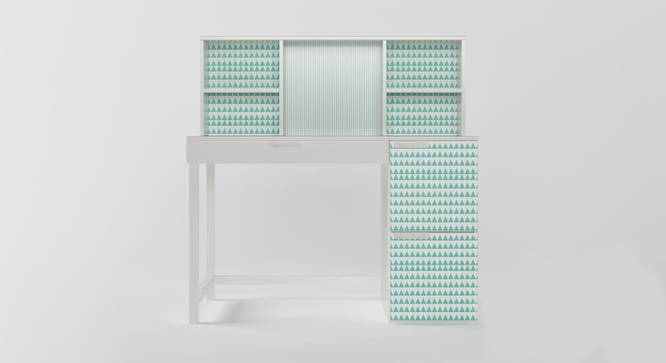 Pattern Play Study Table (White, Matte Finish) by Urban Ladder - Front View Design 1 - 384251