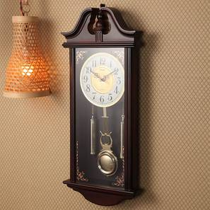 Mila Wall Clock (Brown) by Urban Ladder - Front View Design 1 - 384329
