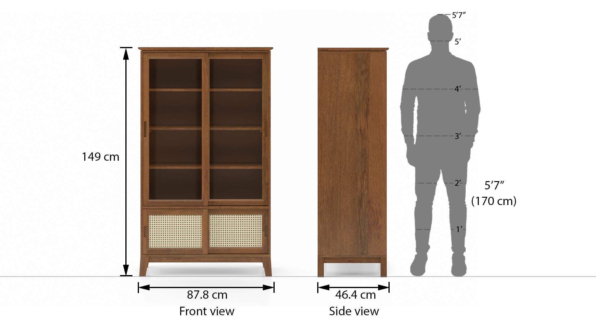 Fujiwara bookshelf display cabinet finish amber walnut dim