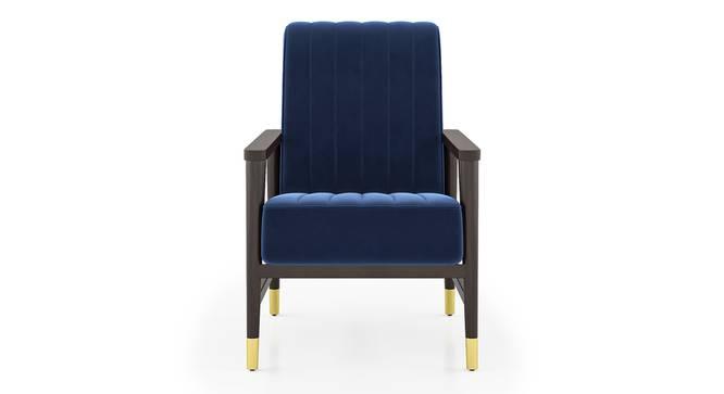 Sinata Arm Chair (Blue Velvet) by Urban Ladder - Front View Design 1 -