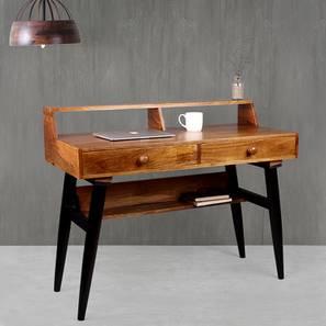 Austin Mid-Century Study Table (Satin Finish, Paintco Teak & Black) by Urban Ladder - Cross View Design 1 - 386364