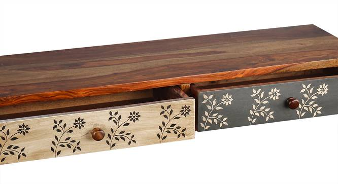 Amy Floating TV Unit (Satin Finish, Paintco Teak & Hand Painting) by Urban Ladder - Front View Design 1 - 386373