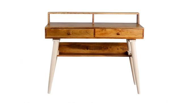 Austin Study Table (Satin Finish, Paintco Teak & Vintage White) by Urban Ladder - Front View Design 1 - 386382
