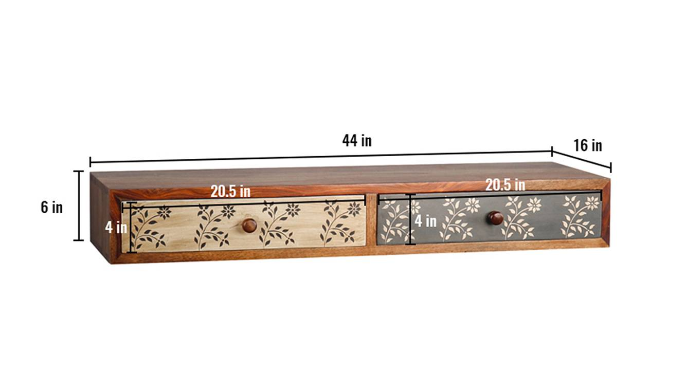 Amy floating tv unit paintco teak and hand painting 6