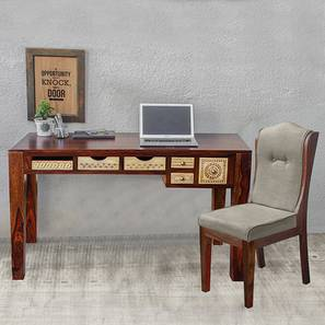 Dravidian hand carved study table with chair paintco teak and vintage white lp
