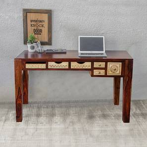 Dravidian hand carved study table paintco teak and vintage white lp