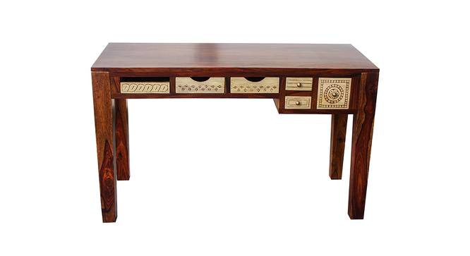 Dravidian Hand Carved Study Table with Chair (Satin Finish, Paintco Teak & Vintage White) by Urban Ladder - Cross View Design 1 - 386440