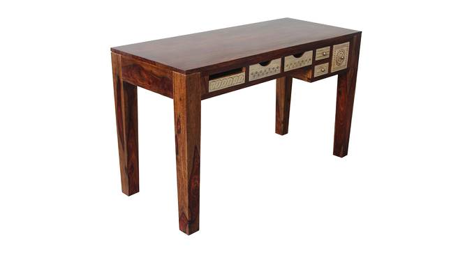 Dravidian Hand Carved Study Table (Satin Finish, Paintco Teak & Vintage White) by Urban Ladder - Front View Design 1 - 386454