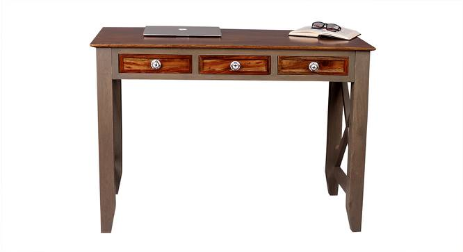 Hank Study Table (Satin Finish, Vintage Grey & Paintco Teak) by Urban Ladder - Front View Design 1 - 386457