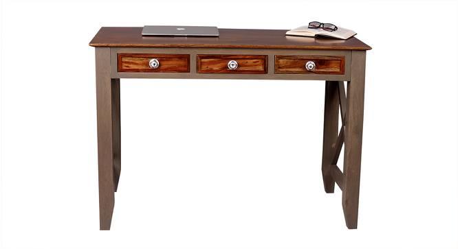 Hank Study Table (Satin Finish, Vintage Grey & Paintco Teak) by Urban Ladder - Front View Design 1 - 386458