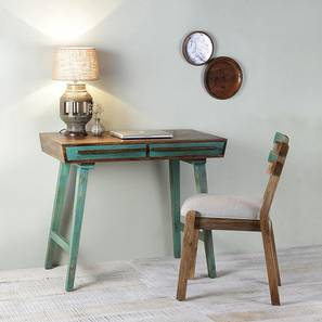 Philibert study table with chair paintco teak and vintage green lp