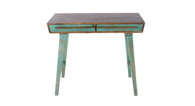 Philibert Study Table (Satin Finish, Paintco Teak & Vintage Green) by Urban Ladder - Front View Design 1 - 386553