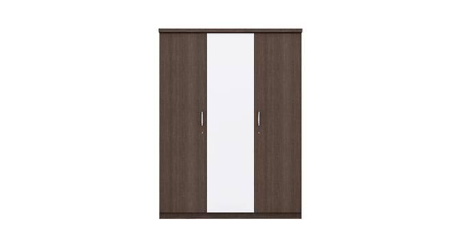 Swann Wardrobe (Foil Lam Finish, Chocolate Sawline & White) by Urban Ladder - Front View Design 1 - 387771