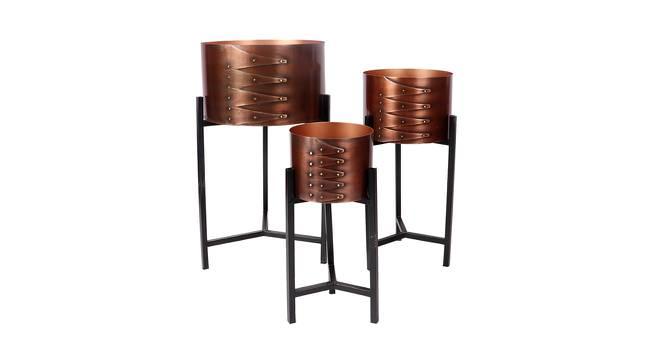 Ari Planter Set of 3 (Antique Copper & Matt Black) by Urban Ladder - Front View Design 1 - 388615