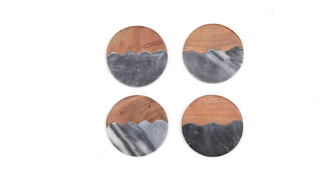 Irrawaddy Coasters Set of 4 (Brown & Grey) by Urban Ladder - Front View Design 1 - 392039