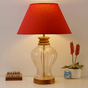 Kristeva Table Lamp (Cotton Shade Material, Maroon Shade Colour, Transparent & Brown) by Urban Ladder - Front View Design 1 - 397824
