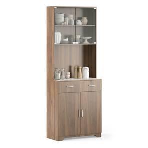 Hubert 4 Door Tall Display Cabinet (WARM WALNUT Finish) by Urban Ladder - Front View Design 1 - 398830