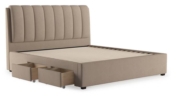 Faroe Upholstered Storage Bed (King Bed Size, Beige) by Urban Ladder - Cross View Design 1 - 403027