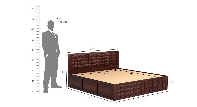 Diamond bed with storage walnutking size 8