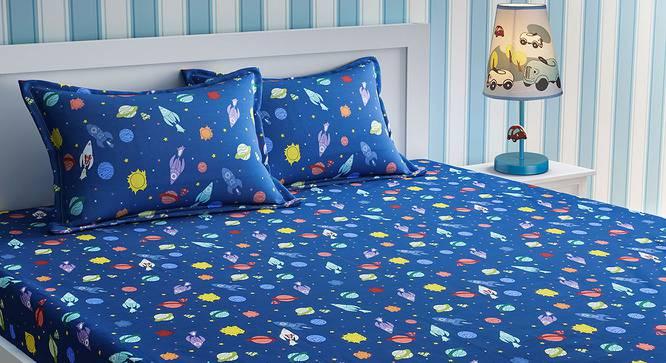 Adelyn Bedsheet Set (Blue, Queen Size) by Urban Ladder - Cross View Design 1 - 406099