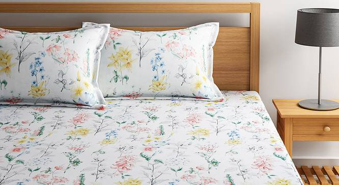 Clementine Bedsheet Set (White, King Size) by Urban Ladder - Front View Design 1 - 406204