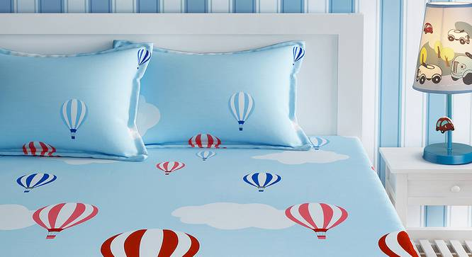 Camille Bedsheet Set (Sky Blue, Queen Size) by Urban Ladder - Front View Design 1 - 406205