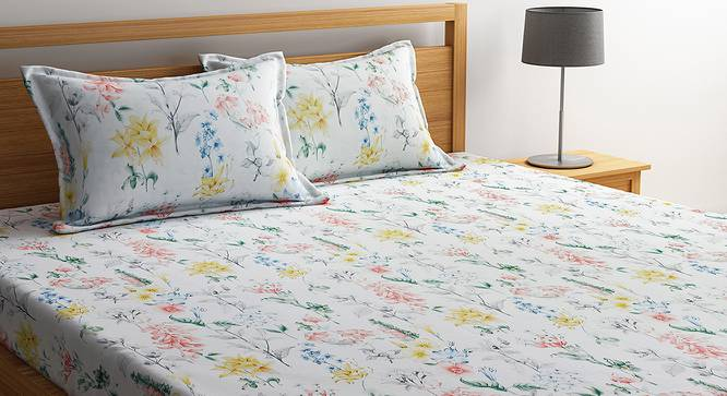 Clementine Bedsheet Set (White, King Size) by Urban Ladder - Cross View Design 1 - 406216
